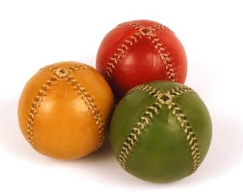 Set of 3 leather juggling balls, 75mm diameter, Juggling set, Juggling balls
