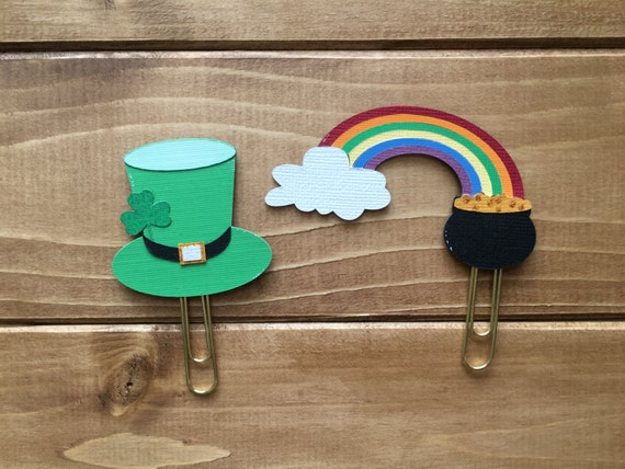 St. Patrick's Day Planner Paperclip Set - Leprechaun Hat - Pot of Gold - Rainbow - Glitter Clip