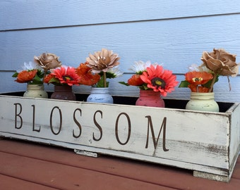 Blossom Planter Box With Mason Jars - Mothers Day Gift - Outdoor Decor - Gardening Decor - Rustic Decor - Mason Jars - Home Decor