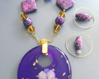 LARGE Flower Necklace and  Earring Set