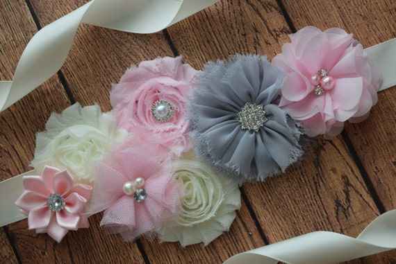 Flower Sash, Light pink , grey and Ivory Sash , flower Belt, maternity sash