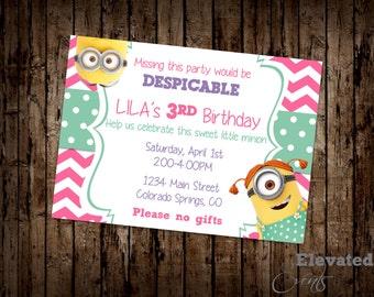 Minion Birthday Party Invitation