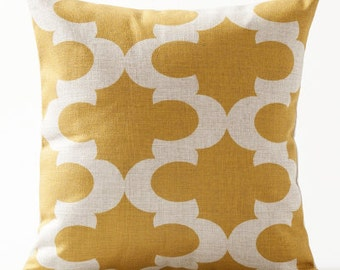 Decorative pillow cover/yellow geometric cushion cover/watercolor pillow throw/pillow sham