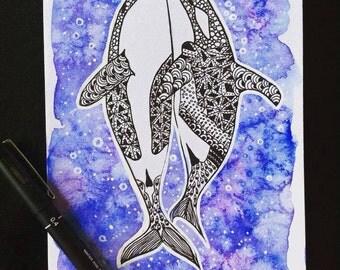 ORCAS IN LOVE watercolor/Ink