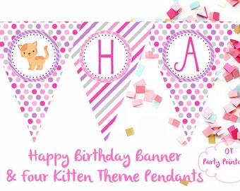 INSTANT DOWNLOAD - Kitten Birthday Banner - You Print - Cat Birthday Theme - Kitty Theme - Kitten Party Printable - Cute Cat Birthday