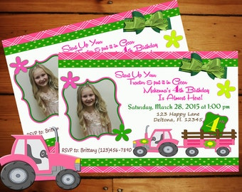 Pink and Green Tractor Birthday Invitation........Personalized Printable Download