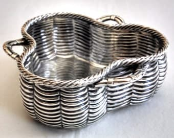 1876 English sterling silver trompe l'oeil trinket basket