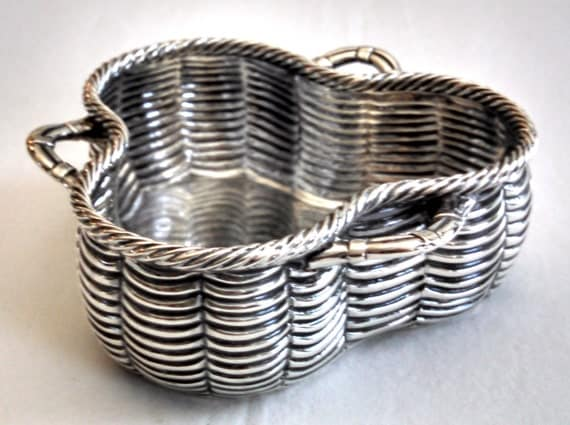 1876 english sterling silver trompe l oeil trinket basket