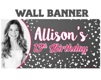 Happy Birthday Photo Banner  ~ Personalized Chalkboard Splash Party Banners - 13th Birthday Banner, Custom Banner, Birthday Banner