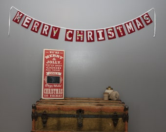Merry Christmas Banner on Red/Whimsical Print/Christmas Decoration