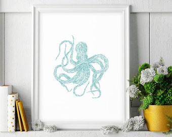 Octopus Wall Art, Digital Download Art, Octopus Art, Octopus Print, Large Printable Art, Octopus Wall Decor, Turquoise Decor, Octopus Poster