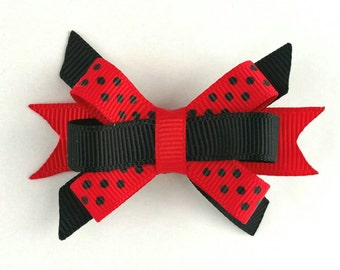 Ladybug bow, itty bitty, 1st Ladybug Birthday Party, Stacked bow photo prop Red Black dot bow, baby hair accessory, Summer Birthday hair bow