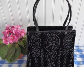 Vintage Black Velvet Beaded Purse Handbag 1980s USA Beautifully Made Art Nouveau Revival