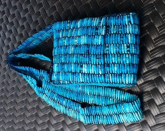 Rolled Paper Beads Handbag, Cross-Body Bag, Purse made of recycled paper. Each Bead is Hand Rolled & sealed with preservative. TurquoiseBlue