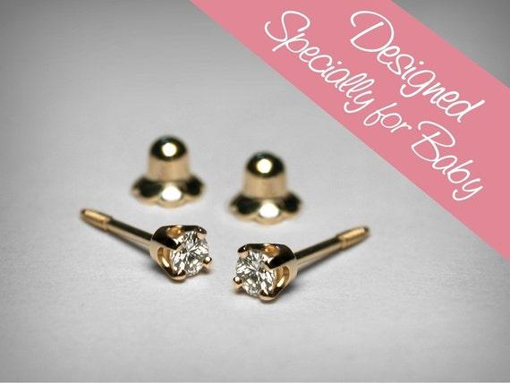 diamond earrings for baby diamond stud baby earrings 14k. Black Bedroom Furniture Sets. Home Design Ideas
