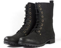 Women's Black Nubuck Leather Combat Boots