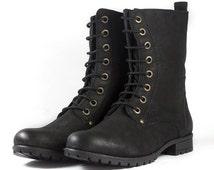 Ladies Black Nubuck Leather Combat Boots