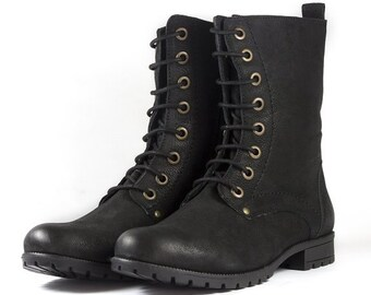 Women's Black Nubuck Leather Combat Biker Ankle Boots-Lace Up and Zip Up