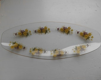 Vintage Retro Kitsch 1960s Glass Trinket Dish Tray Floral Flower Print