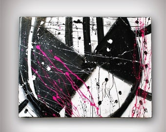 Abstract Canvas Painting 31x24 Original Modern Wall Art - Give me Love