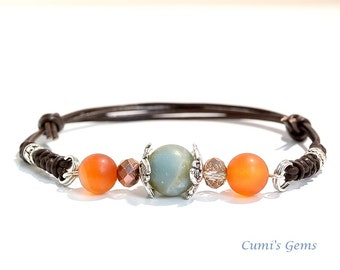 Amazonite bracelet, Carnelian leather, Boho chic jewelry, Zen Yoga bracelet, heal stone jewelry, Gift for Mom, Friendship Gift, Handmade