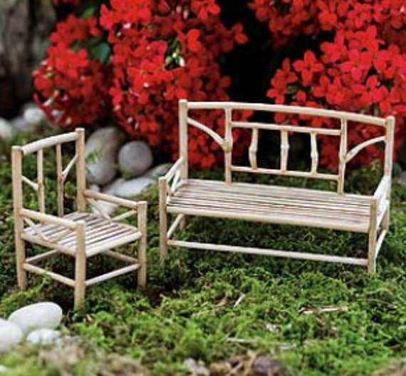 zen fairy garden furniture set miniature bamboo bench. Black Bedroom Furniture Sets. Home Design Ideas
