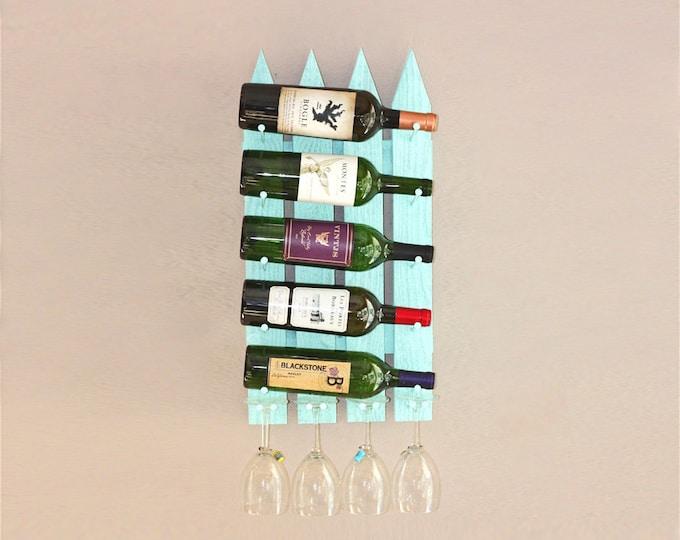 Wall Wine Rack - 5 Bottle 4 Glasses Picket Fence