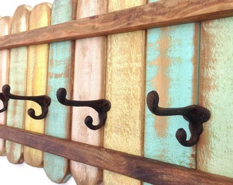 XL Wood Coat Rack Cast Iron Coat Hook / Shabby Cottage Beach Chic Coat Rack, Bohemian Furniture, Bathroom Towel Hanger, Pallet Furniture