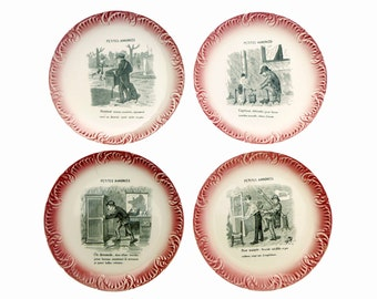 Plates old French illustrated - talking plates, earthenware Digoin Sarreguemines - plates transferware
