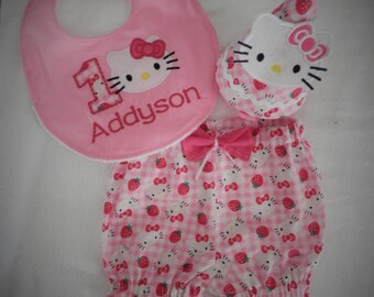 Hello Kitty Smash Cake Outfit, Birthday outfit Hello Kitty birthday outfit, Girl Smash Cake Outfit