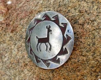 MIMBRES DEER BROOCH, Handmade Hopi Pin, Sterling Silver, 1950's