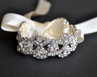 Rhinestone beaded cuff bracelet- bridal, bridesmaid cuff bracelet, ridal bracelet, Bridesmaid gift, bridesmaid bracelet, beaded crystal cuf
