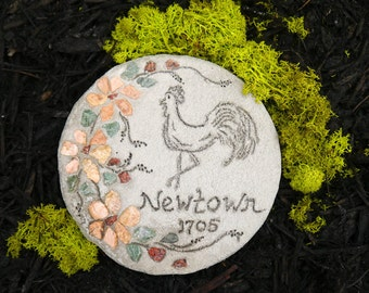 Engraved Stepping Stone - Newtown, CT - Garden Decor, All-Natural Mosaic Stepping Stone, Decorative Garden Art, Garden Sign, Yard Art