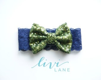 6-12 Months (15 inches): Large Olive Sparkle Sequin bow on Navy Lace. FINAL SALE