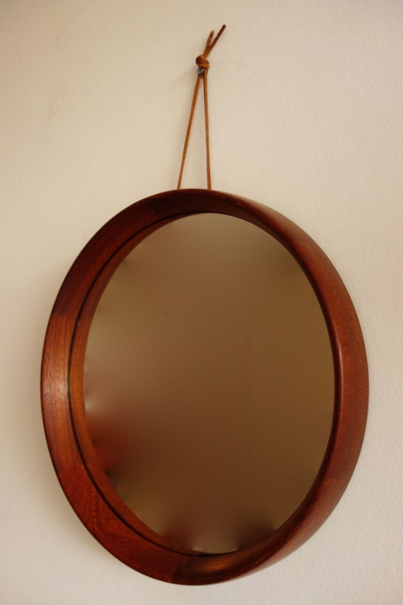 Round Mirror Wood Wooden Teak 1960s Mid Century Modern Dutch
