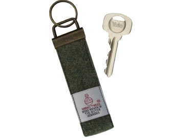 Harris Tweed Lovat Green Pure Wool Keyring On Chunky Metal Key Fob