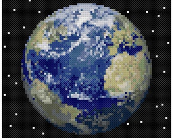 PDF Cross Stitch pattern - 0053.Earth planet - INSTANT DOWNLOAD