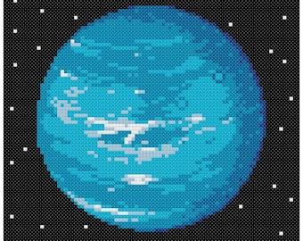 PDF Cross Stitch pattern - 0062.Uranus planet - INSTANT DOWNLOAD