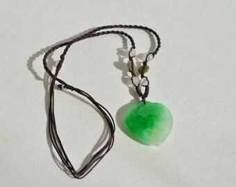 Vintage Natural Genuine Green White Jade Jadeite Heart Large Pendant Necklace
