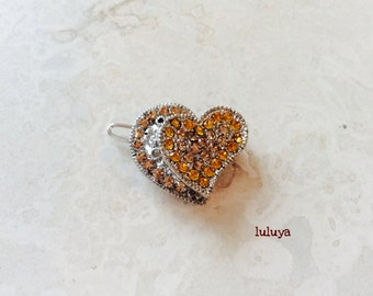 High Quality Gold Topaz Crystal Rhinestone Hair Clip Pin Barrette Heart Shape Pretty