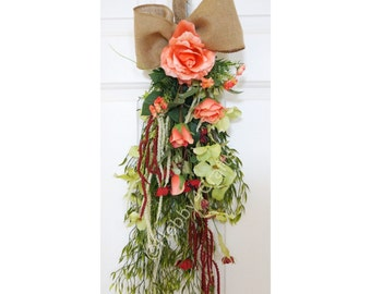 Spring Summer Wreath, Peach Roses Wildflowers Spring Swag  Door Wreath, Ready to Ship
