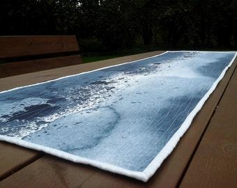 Modern quilted table runner from Marimekko fabric Luovi, grey table topper centerpiece, Scandinavian decor, wall hanging, textile art