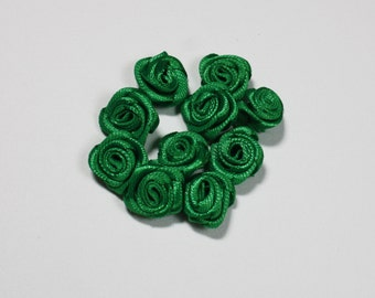 Forest Green Miniature Roses, Wedding Bouquet Satin Rose, Emerald Green Artificial Flowers Supplies, Mini Flower Fashion Jewelry