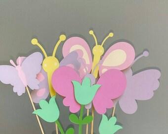 Butterfly centerpiece sticks, butterfly birthday, butterfly shower, butterfly party decorations