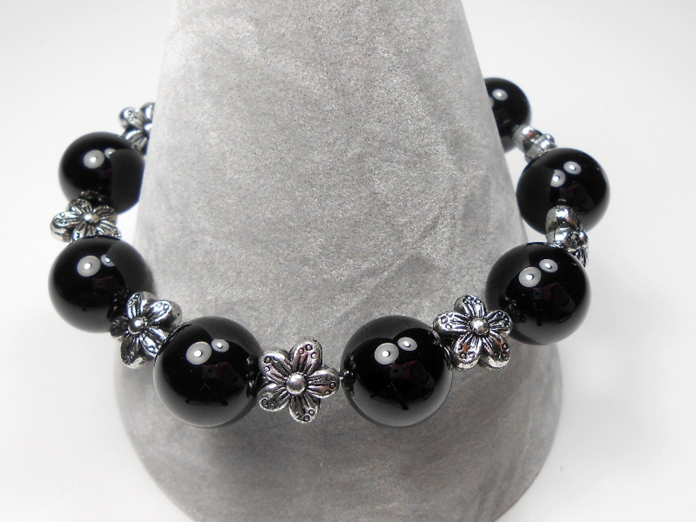 black onyx semi precious gemstone beaded chunky by toriateeuk