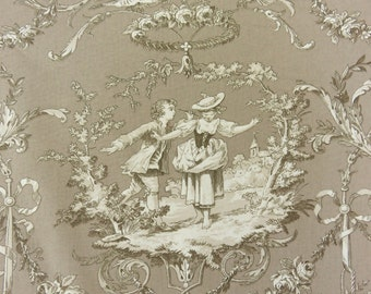 French Toile de Jouy fabric, French country toile, Upholstery, Curtains, Sweet William style, Taupe/gray 110.2 inches wide LAST FEW
