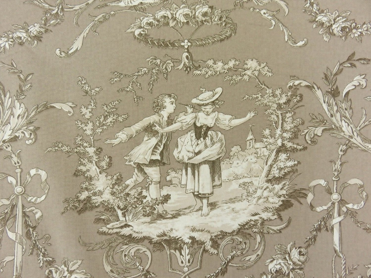 superb new toile de jouy fabric richloom sweet william style. Black Bedroom Furniture Sets. Home Design Ideas