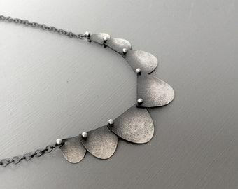Seven Disc Scalloped silver necklace