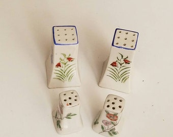2 Sets of Flower Salt and Pepper Shakers