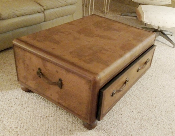 Items Similar To Vintage World Map Coffee Table Trunk On Etsy